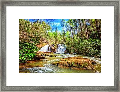 Waterfall In The Smoky Mountains Framed Print by Debra and Dave Vanderlaan