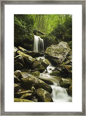 Waterfall In The Spring Framed Print by Andrew Soundarajan