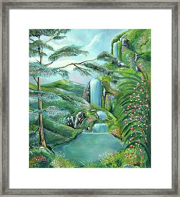 Waterfall Framed Print by John Keaton