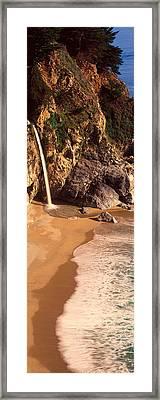 Waterfall, Mcway Cove, Big Sur, Ca Framed Print