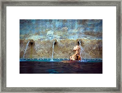 Waterfall Mermaid Framed Print by Karl Alexander