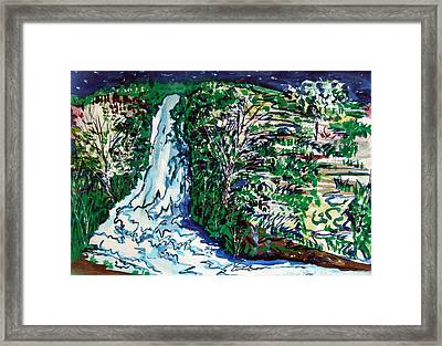 Waterfall Framed Print by Mindy Newman
