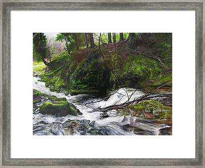 Framed Print featuring the painting Waterfall Near Tallybont-on-usk Wales by Harry Robertson