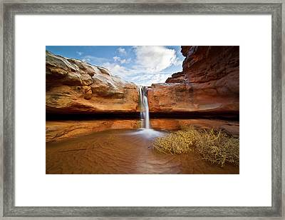 Waterfall Of Desert Framed Print by William Church - Summit42.com