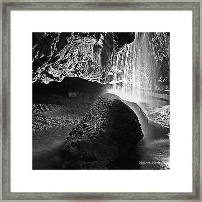 Waterfall Of The Caverns Black And White Framed Print by DigiArt Diaries by Vicky B Fuller