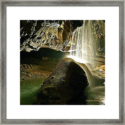 Waterfall Of The Caverns Framed Print by DigiArt Diaries by Vicky B Fuller
