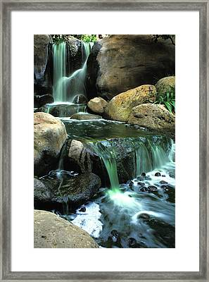 Waterfall On Maui Framed Print by Carl Purcell