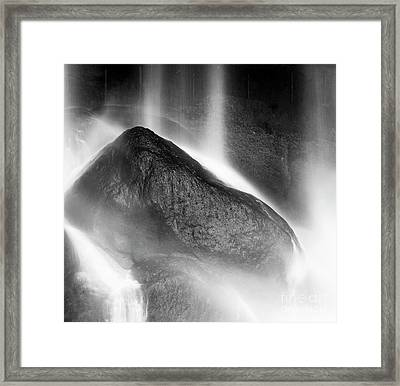Framed Print featuring the photograph Waterfall On Rocks At Misol Ha Black And White by Tim Hester