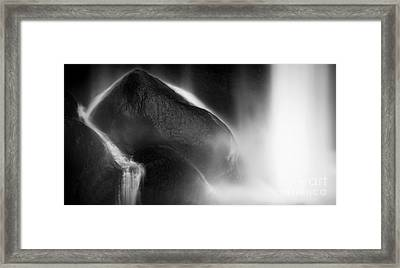 Framed Print featuring the photograph Waterfall On Rocks Black And White by Tim Hester