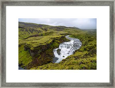 Waterfall On The Fimmvorduhals Trail Framed Print