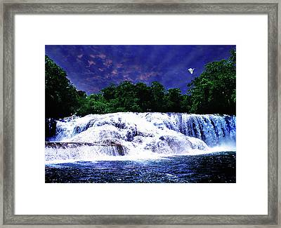 Waterfall Painting Waterfall Prints On Canvas - Agua Azul Framed Print by Zenisart Gallery