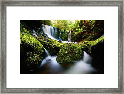 Waterfall Painting Waterfall Prints On Canvas - Horseshoe Waterfalls Framed Print by Frances Leigh