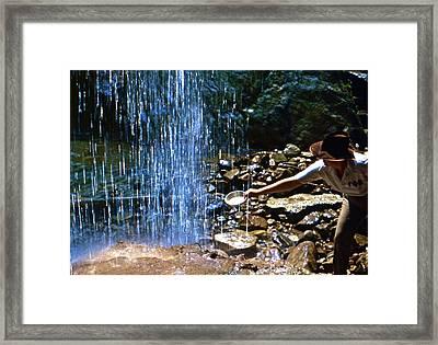 Waterfall Panner Framed Print by Lori Miller