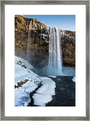 Waterfall Seljalandsfoss Iceland In Winter Framed Print by Matthias Hauser