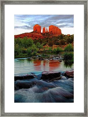 Waterfall Under Cathedral Rock Framed Print