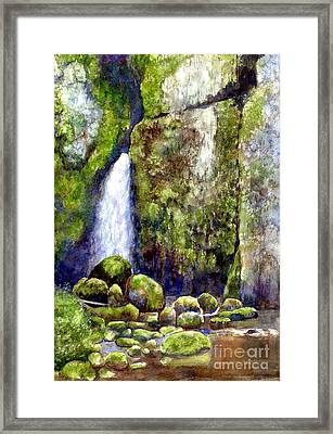 Waterfall With Mossy Rocks Framed Print by Sharon Freeman