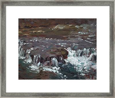 Waterfalls At Three Sisters Islands Framed Print by Ylli Haruni