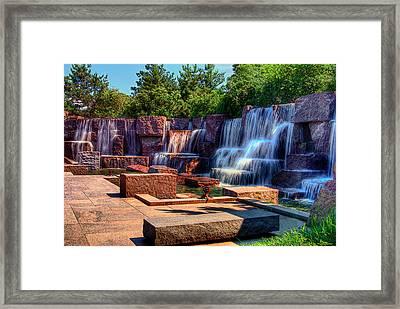 Waterfalls Fdr Memorial Framed Print by Don Lovett