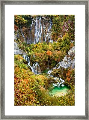 Waterfalls In Plitvice Lakes National Park Framed Print