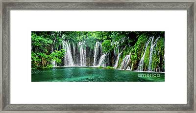 Waterfalls Panorama - Plitvice Lakes National Park Croatia Framed Print