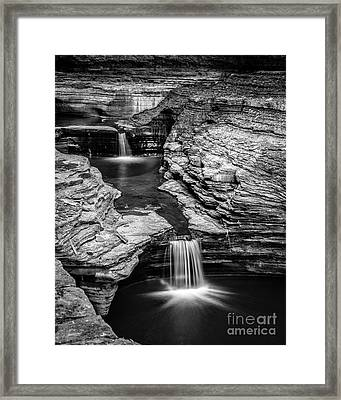 Waterfalls Watkins Glen State Park New York Framed Print by Edward Fielding
