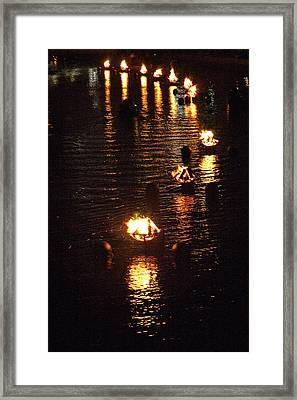 Waterfire Lights Framed Print