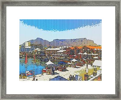 Waterfront And Table Mountain Framed Print by Jan Hattingh