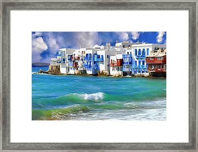 Waterfront At Mykonos Framed Print by Dominic Piperata