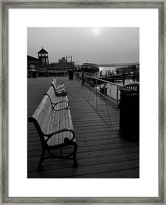 Waterfront Benches II Framed Print