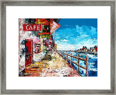 Waterfront Cafe Framed Print by Claude Marshall