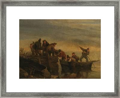 Waterfront Fishermen Framed Print by Eugene Boudin