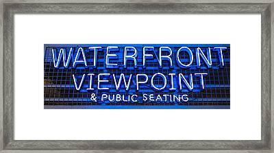 Waterfront Neon Pike Place Market Seattle Framed Print by Steve Gadomski