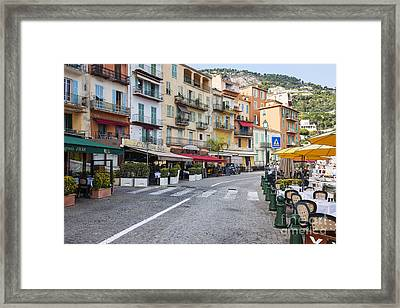 Waterfront Restaurants In Villefranche-sur-mer Framed Print