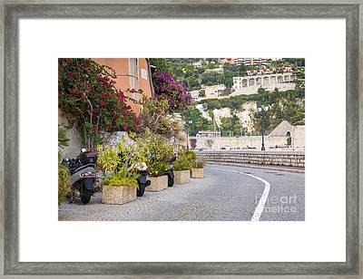 Waterfront Street In Villefranche-sur-mer Framed Print by Elena Elisseeva