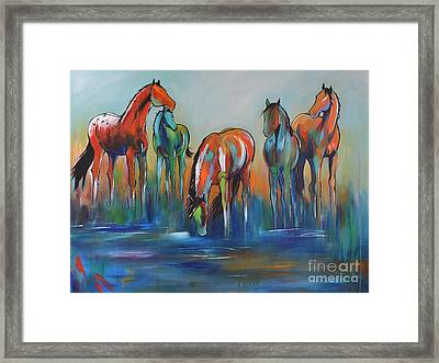 Framed Print featuring the painting Watering Hole 5 by Cher Devereaux