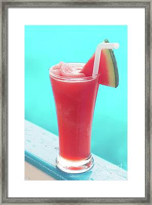 Framed Print featuring the photograph Waterlemon Smoothie by Atiketta Sangasaeng