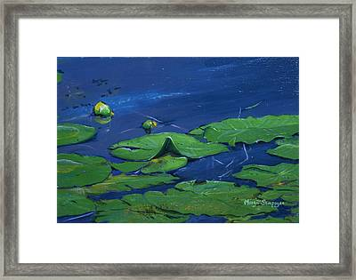 Framed Print featuring the painting Waterlilies  by Margit Sampogna