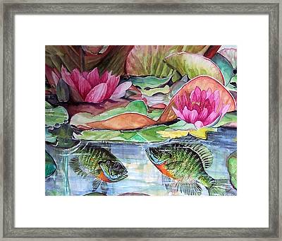 Waterlillies And Blue Giles Framed Print by Bette Gray