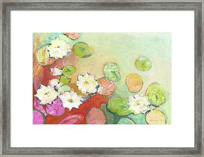Waterlillies At Dusk No 2 Framed Print by Jennifer Lommers