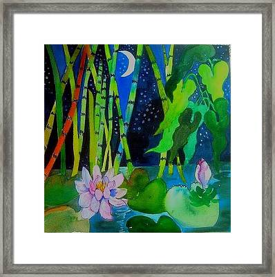 Waterlillies At Midnight Framed Print