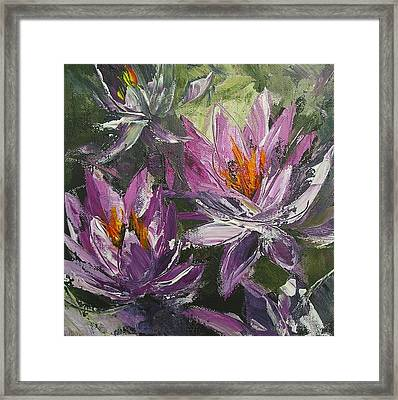 Framed Print featuring the painting Waterlilly by Chris Hobel