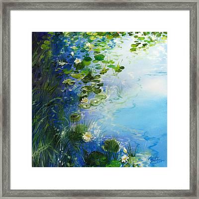 Waterlily Landscape Framed Print by Marcia Baldwin