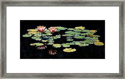 Framed Print featuring the painting Waterlily Panorama by Marilyn Smith