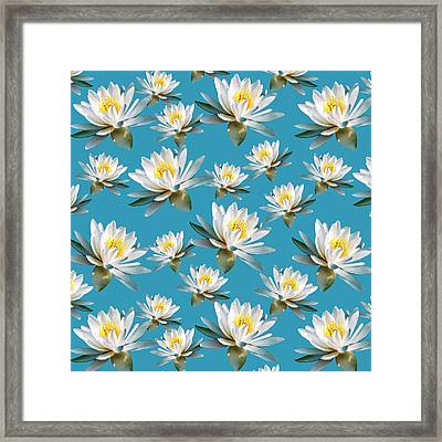 Framed Print featuring the mixed media Waterlily Pattern by Christina Rollo