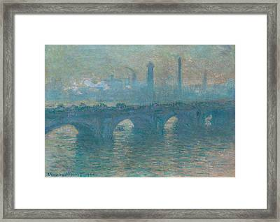 Waterloo Bridge, Gray Weather Framed Print