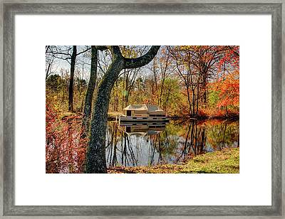 Waterloo Village Historic Boat House In Autumn Framed Print by Geraldine Scull