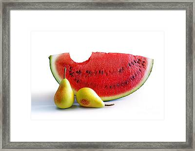Watermelon And Pears Framed Print by Carlos Caetano