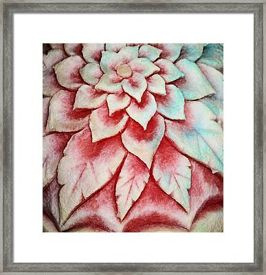 Framed Print featuring the photograph Watermelon Carving by Kristin Elmquist