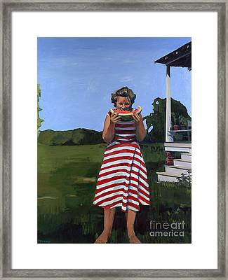 Watermelon Eater Framed Print by Deb Putnam