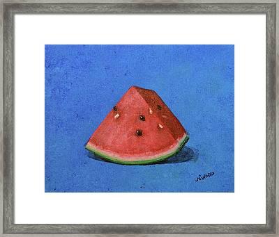 Watermelon Framed Print by Nancy Otey